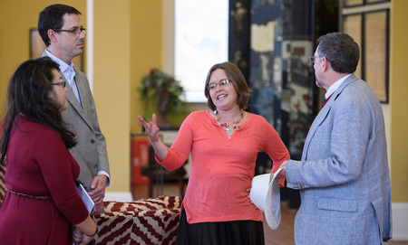 UM Center for Population Studies Director John Green (left) chats with Assistant Professor of Religion Sarah Moses and BMH-NMS Chaplain Director Joe Young during the Medical Humanities students reception.Photo by Thomas Graning/Ole Miss Communications